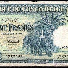 Billetes extranjeros: CONGO BELGA 100 FRANCOS 1949 MBC. Lote 84306207
