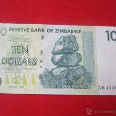 Billetes extranjeros: ZIMBABWE. BILLETE DE 10 DOLLARS. 2007. Lote 53881338