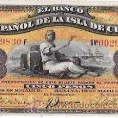 Billetes extranjeros: BILLETE DE 5 PESOS. 1896. BANCO ESPAÑOL DE LA ISLA DE CUBA. SIN CERTIFICADO PLATA.. Lote 64184958
