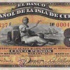 Billetes extranjeros: BILLETE DE 5 PESOS. 1896. BANCO ESPAÑOL DE LA ISLA DE CUBA. SIN CERTIFICADO PLATA.. Lote 53905716