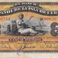 Billetes extranjeros: BILLETE DE 5 PESOS. 1896. BANCO ESPAÑOL DE LA ISLA DE CUBA. SIN CERTIFICADO PLATA.. Lote 53905948