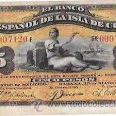 Billetes extranjeros: BILLETE DE 5 PESOS. 1896. BANCO ESPAÑOL DE LA ISLA DE CUBA. SIN CERTIFICADO PLATA.. Lote 53906554
