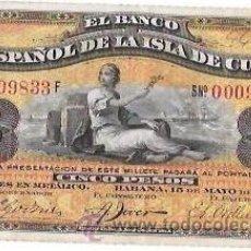 Billetes extranjeros: BILLETE DE 5 PESOS. 1896. BANCO ESPAÑOL DE LA ISLA DE CUBA. SIN CERTIFICADO PLATA.. Lote 53906610