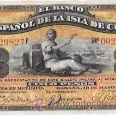 Billetes extranjeros: BILLETE DE 5 PESOS. 1896. BANCO ESPAÑOL DE LA ISLA DE CUBA. SIN CERTIFICADO PLATA.. Lote 53906808
