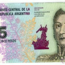 Billetes extranjeros: PRECIOSO BILLETE ARGENTINA 5 PESOS 2015 PICK NEW SC/UNC. Lote 95900982