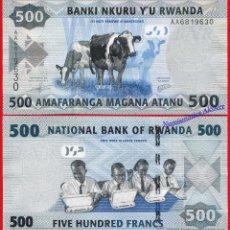 Billetes extranjeros: RUANDA RWANDA 500 FRANCS FRANCOS 2013 PICK 38 SC / UNC. Lote 237298880