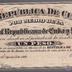 Billetes extranjeros: BILLETE. 1 PESO. REPUBLICA DE CUBA. 1869. JUNTA CENTRAL REPUBLICANA DE CUBA Y PUERTO RICO. Lote 126467367