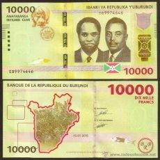Billetes extranjeros: BURUNDI. NUEVO 10000 FRANCS (FRANCOS) 15.01.2015. S/C.. Lote 146022082