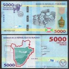 Billetes extranjeros: BURUNDI. NUEVO 5000 FRANCS (FRANCOS) 15.01.2015. S/C. MUY BONITO.. Lote 149329189