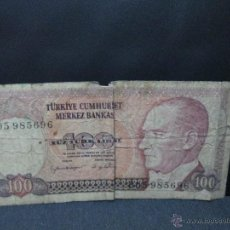Billetes extranjeros: 100 LIRAS TURQUIA. Lote 54407697