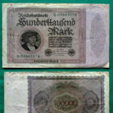 Billetes extranjeros: ALEMANIA 100000 MARCOS 1923, GERMANY 100000 MARK 1923, (BILLETE DE GRAN FORMATO). Lote 54580573