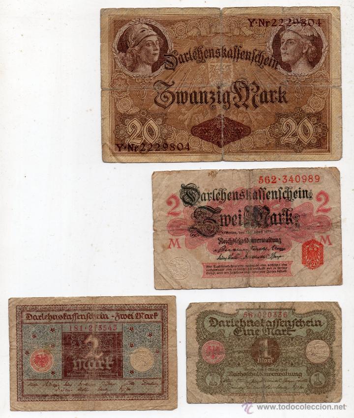 LOTE DE 4 BILLETES DE ALEMANIA ANTIGUOS. MARCOS ALEMANES DE 1914 Y 1920. (Numismática - Notafilia - Billetes Extranjeros)