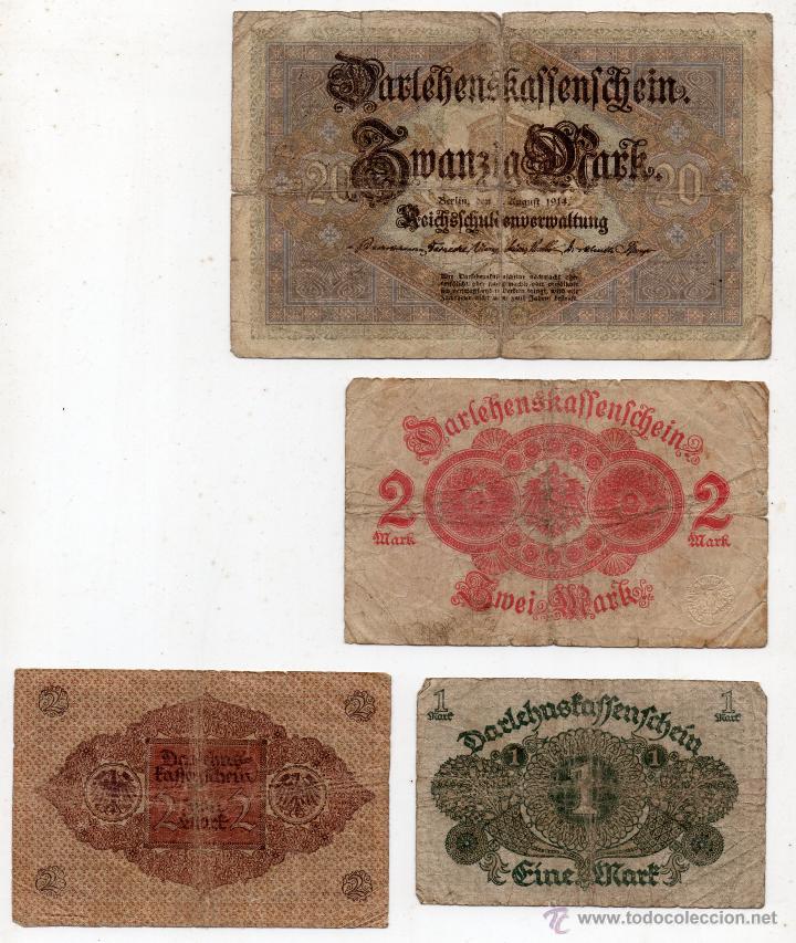 Billetes extranjeros: Lote de 4 Billetes de Alemania Antiguos. Marcos Alemanes de 1914 y 1920. - Foto 2 - 54768316