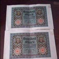 Billetes extranjeros: TRES BILLETES DE 100 REICHSBANKNOTE HUNDER MARK CON NUMERACIÓN CONSECUTIVA BERLIN 1 NOVIEMBRE 1920. Lote 54893030