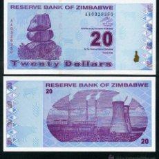 Billetes extranjeros: ZIMBABWE 20 DOLARES AÑO 2009 SC ( ESTACION DE ENERGIA DE HWANGE ) Nº1. Lote 159150689