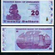 Billetes extranjeros: ZIMBABWE 20 DOLARES AÑO 2009 SC ( ESTACION DE ENERGIA DE HWANGE ) Nº3. Lote 159150612