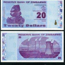 Billetes extranjeros: ZIMBABWE 20 DOLARES AÑO 2009 SC ( ESTACION DE ENERGIA DE HWANGE ) Nº5. Lote 159150738