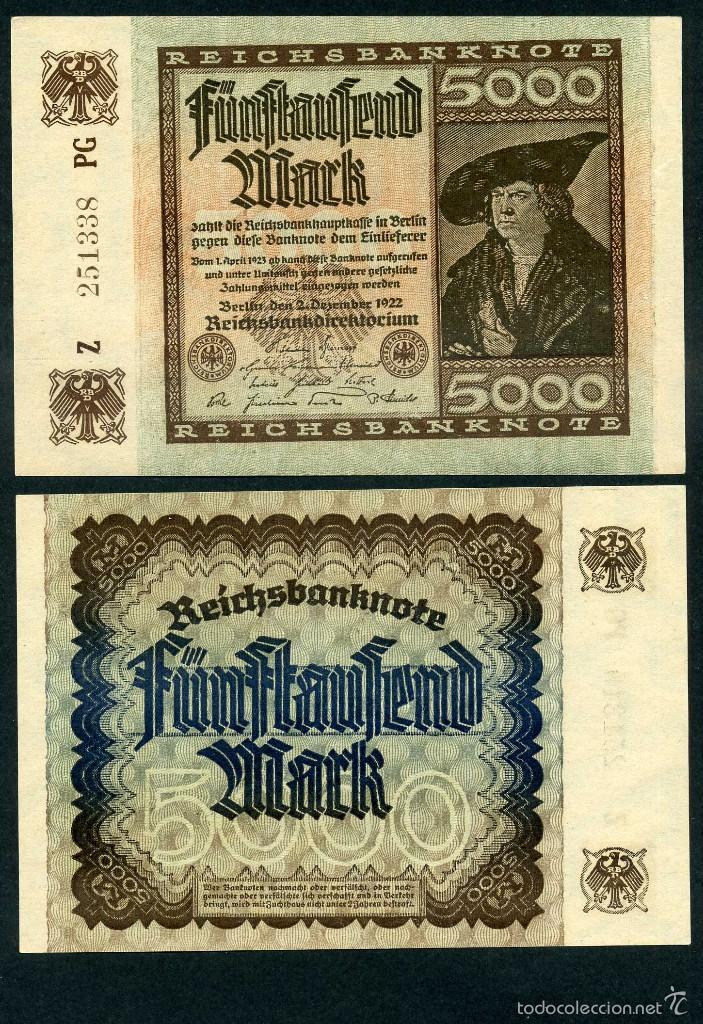 ALEMANIA 5000 MARKOS AÑO 1922 SC SERIE Z ( HOMBRE COMERCIANTE ) Nº9 (Numismatik - Notaphilie - Internationale Banknoten)