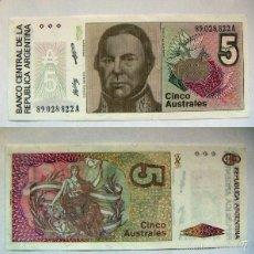 Billetes extranjeros: BILLETE ARGENTINA 5 AUSTRALES PLANCHA. Lote 55292067
