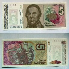 Billetes extranjeros: BILLETE ARGENTINA 5 AUSTRALES PLANCHA. Lote 55293038