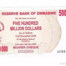 Billetes extranjeros: BILLETE NUEVO ZIMBABWE 500 MILLONES DE DÓLARES RARO CURIOSO. Lote 55338885