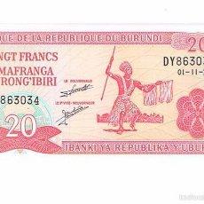 Billetes extranjeros: BILLETE NUEVO BURUNDI 20 FRANCS. Lote 55338999