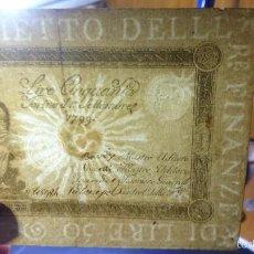 Billetes extranjeros: BILLETE DE 50 LIRAS DEL AÑO 1799 DEL REINO DE CERDEÑA. Lote 55432945