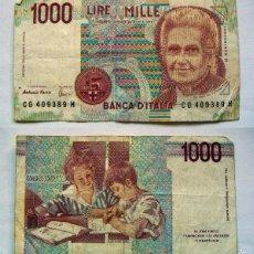Billetes extranjeros: BILLETE DE ITALIA 1000 LIRAS.CIRCULADO. Lote 55781424
