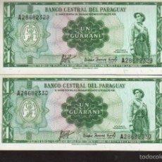 Billetes extranjeros: 2 BILLETES DE PARAGUAY 1 GUARANIES VER FOTO QUE NO TE FALTE EN TU COLECCION. Lote 248986320