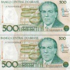 Billetes extranjeros: PAREJA CORRELATIVA 2 BILLETES DE 500 CRUZADOS VER FOTO QUE NO TE FALTE EN TU COLECCION. Lote 114537796