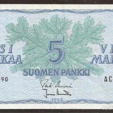 Billetes extranjeros: FINLANDIA. 5 MARKKAA 1963. SIN LITT. PICK 99. VARIANTE DE FIRMAS.. Lote 56390505