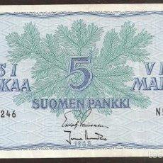 Billetes extranjeros: FINLANDIA. 5 MARKKAA 1963. SIN LITT. PICK 99. VARIANTE DE FIRMAS.. Lote 56390543