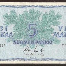 Billetes extranjeros: FINLANDIA. 5 MARKKAA 1963. SIN LITT. PICK 99. VARIANTE DE FIRMAS.. Lote 56391004