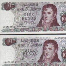 Billetes extranjeros: PAREJA CORRELATIVA 2 BILLETES DE 10 PESOS ARGENTINOS MIRA MIS OTROS BILLETES EN MI TIENDA. Lote 114537840