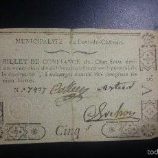 Billetes extranjeros: ASIGNADO DE 5 SOLS DE LA REVOLUCIÓN DE AUVERGNE,EMITIDO ENTRE 1791 Y 1793 ASSIGNAT. Lote 56577277