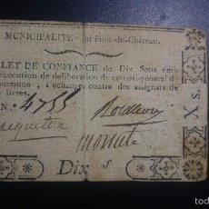 Billetes extranjeros: ASIGNADO DE 10 SOLS DE LA REVOLUCIÓN DE AUVERGNE,EMITIDO ENTRE 1791 Y 1793 ASSIGNAT. Lote 56577316