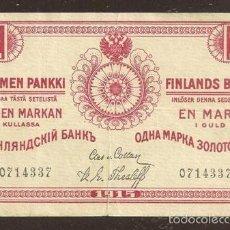 Billetes extranjeros: FINLANDIA. 1 MARKKA 1915. PICK 16 A. SIN SERIE. VARIANTE DE FIRMAS. . Lote 56884429