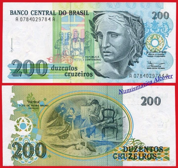 BRASIL 200 CRUZEIROS 1990 PICK 229 - SC (Numismática - Notafilia - Billetes Extranjeros)