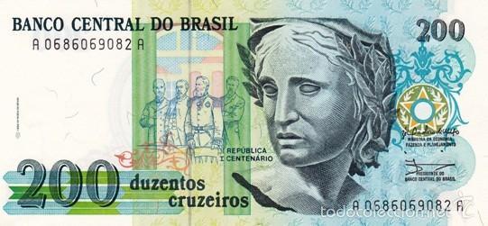 BRASIL 200 CRUZEIROS PICK 229 S/C (Numismática - Notafilia - Billetes Extranjeros)