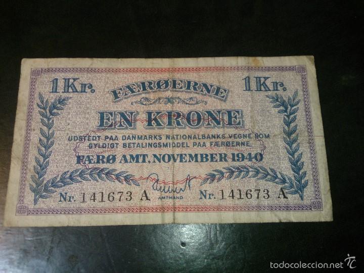 ISLAS FEROE ( FAEROE ) 1 CORONA NOVIEMBRE 1940 - II GUERRA MUNDIAL- RARO DIFICIL EN ESTE ESTADO (Numismática - Notafilia - Billetes Extranjeros)