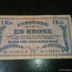 Billetes extranjeros: ISLAS FEROE ( FAEROE ) 1 CORONA NOVIEMBRE 1940 - II GUERRA MUNDIAL- RARO DIFICIL EN ESTE ESTADO. Lote 56958496
