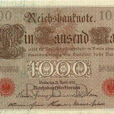 Billetes extranjeros: 1000 MARCOS, ALEMANIA, 1910 SELLO ROJO, SIN CIRCULAR UNC. Lote 57025355