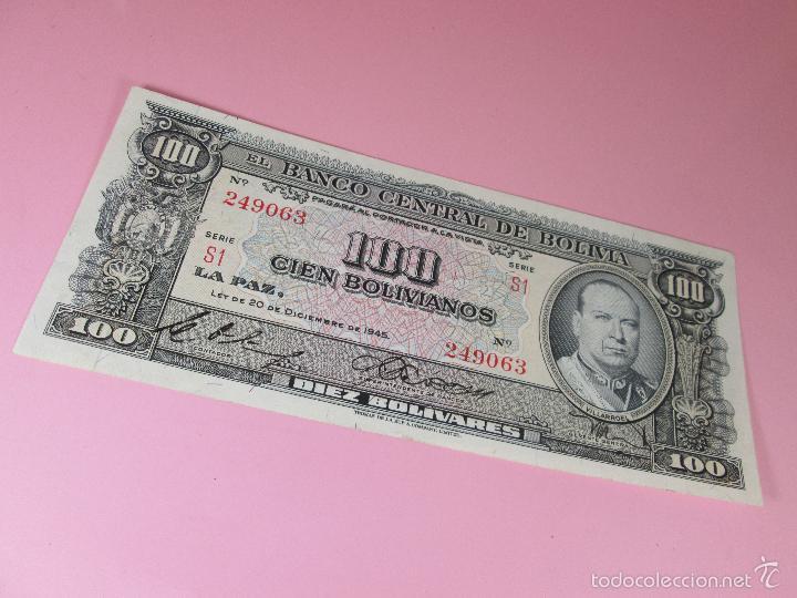 Billetes extranjeros: ANTIGUO BILLETE DE BOLIVIA-100 BOLIVIANOS-20 DICIEMBRE 1945-249063-PLANCHA. - Foto 6 - 35913590
