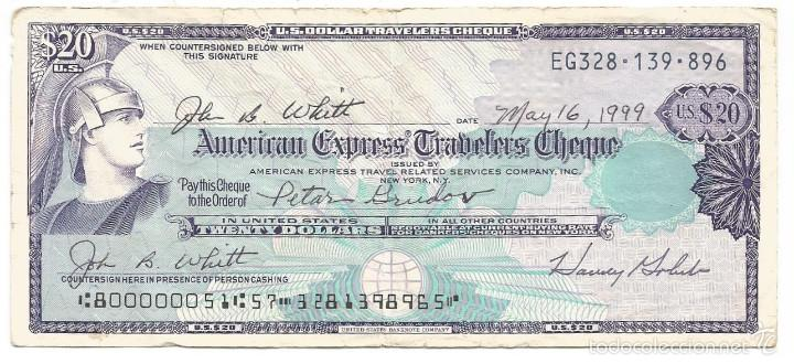 American Express Usa >> Cheque American Express 20 Dollars Usa 1999 Sold At Auction 57292021