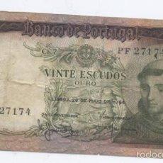 Billetes extranjeros: PORTUGAL- 20 ESCUDOS-1964. Lote 57678870