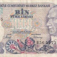 Billetes extranjeros: BILLETE TICKET TURQUIA TÜRKIYE TÜRK 1000 LIRA S LIRASI AÑO 1970 CIRCULADO . Lote 57839268