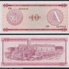 Billetes extranjeros: CUBA 10 PESOS FOREIGN EXCHANGE CERTIFICATE 1985 PICK FX4 SERIE A SC UNC. Lote 143562057