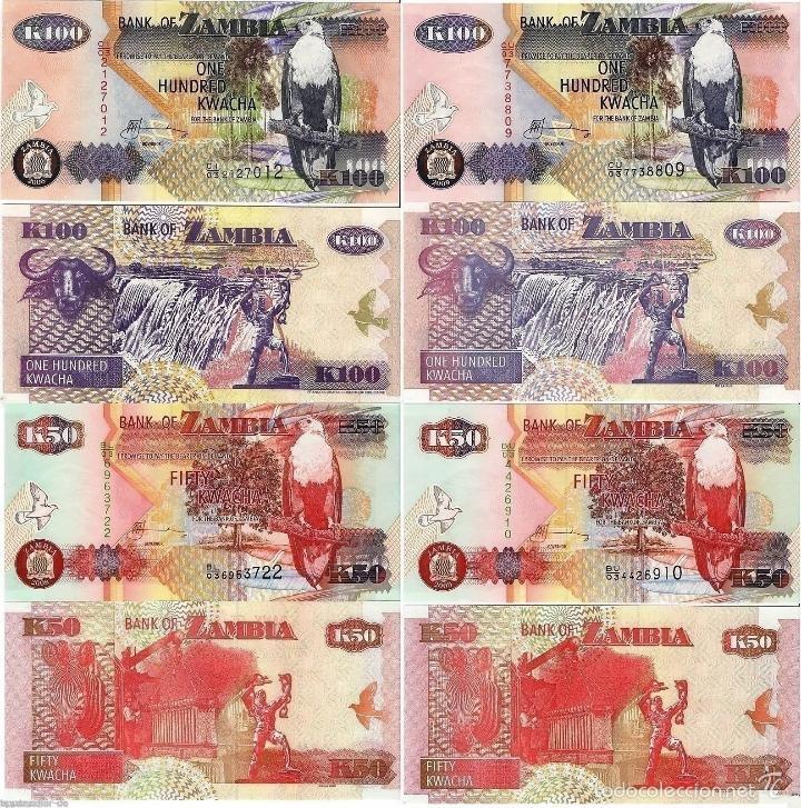 LOTE 4 BILLETES ZAMBIA 50,50,100,100 KWACHA (Numismática - Notafilia - Billetes Extranjeros)