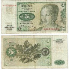 Billetes extranjeros: ALEMANIA FEDERAL - GERMANY 5 MARK 1960 PICK 18.A. Lote 70046002