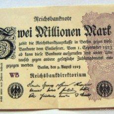 Billetes extranjeros: BILLETE DE ALEMANIA 2 MILLONES DE MARCOS 9.8. 1923. Lote 58351465